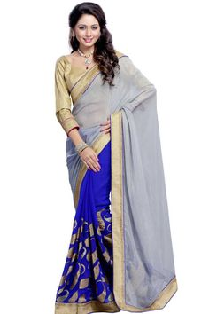 Sky blue with Cream, blue and grey chiffon and georgette saree with cream art silk blouse.Embellished with embroidered, zari and stone.Saree comes with u neck blouse.It is perfect for casual wear, festival wear, party wear and wedding wear.Andaaz Fashion is the most popular designer wear online ethnic shop brands. Price :  $70.32 http://www.andaazfashion.us/womens/sarees/fabric/georgette-saree