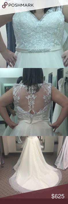 Brand new Wedding Dress Dress still has tags on it, the pictures don't give this dress justice it's absolutely gorgeous and the detail in the top is stunning. It's size 20, disappointed that I won't be wearing it so I just want it out of my face! Dresses Wedding