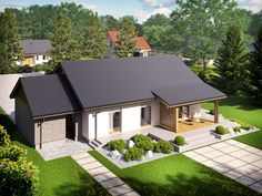 Wizualizacja AC Kornel II (z wiatą) ENERGO CE Bungalow Extensions, Modern Minimalist House, House Layouts, Home Fashion, House Plans, Cool Designs, Villa, House Design, House Styles