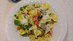 Lemon pasta Primavera with vegetarian sausage.
