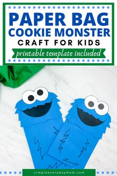 See how simple it is to make this brown paper bag Cookie Monster craft. It's a fun activity for Sesame Street fans and it comes with a free printable template too! Easy Crafts For Kids, Fun Crafts, Fun Learning, Teaching Kids, Paper Bag Crafts, Paper Bag Puppets, Puppet Crafts, Young Children, Blue Bags
