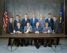 """These eleven civilian scientists """"The Excess Eleven"""" were assigned on July 26, 1967, to begin training for astronaut positions with NASA. The group is second of NASA's first 6 classes of astronaut trainees to be selected specifically on basis of scientific education versus aviation backgrounds. Seated L-R:  Philip Chapman, Robert Parker, William Thornton & John Llewellyn. Standing L-R: Joseph Allen, Karl Henize, Anthony England, Donald Holmquest, Story Musgrave, William Lenoir & Brian…"""