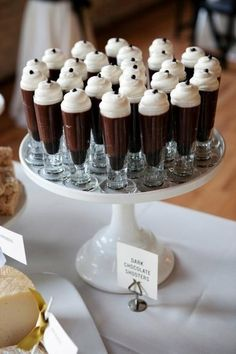 Dark chocolate shooters:  Place one mini chocolate muffin in bottom of glass. Next, pour dark chocolate pudding or mousse and top with whipped cream and mini chocolate chip.  Easy yet elegant!