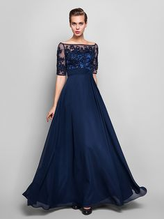 TS Couture Formal Evening / Military Ball Dress - Dark Navy Plus Sizes / Petite Sheath/Column Off-the-shoulder Floor-length Chiffon / Tulle - USD $ 99.99