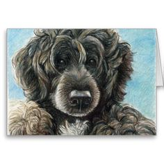 Portuguese Water Dog Original Art Notecard   Click on photo to purchase. Check out all current coupon offers and save! http://www.zazzle.com/coupons?rf=238785193994622463&tc=pin