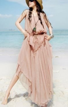 Love Pink! Pink O-neck Sleeveless Chiffon Maxi Beach Dress #Pink #Love_Pink #Beach_Fashion