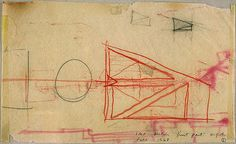 I. M. Pei. Early conceptual sketch for building plan, National Gallery of Art East Building, fall 1968.  Crayon and graphite on tracing paper