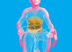An illustration of a cyclist on a cycle machine.