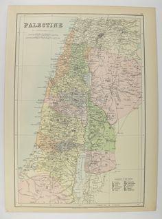 1884 Antique Palestine Map, Vintage Map Palestine, Holy Land Map 1884 A & C Black Map, Syria Map Israel, Unique Wedding Gift for Couple available from OldMapsandPrints.Etsy.com #Palestine #1884AntiqueMapofPalestine #HolyLandMap