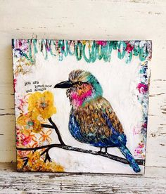 Bird original painting 12 x 12 wood You are by sunshinegirldesigns, $125.00