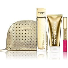 Michael Kors Sexy Amber Four-Piece Value Set (£91) ❤ liked on Polyvore featuring beauty products, gift sets & kits, makeup, no color, travel bag, make up purse, cosmetic purse, purse makeup bag and dop kit