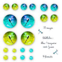 """planche digitale pour cabochon """" libellules fond turquoise / bleu - vert / jaune """" : Images digitales pour bijoux par patouille-et-gribouille"""