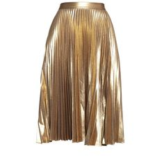 A.L.C. Gates metallic pleated skirt ($214) ❤ liked on Polyvore featuring skirts, bottoms, gold, gold skirt, knee length pleated skirt, metallic gold pleated skirt, side slit skirt and metallic skirts
