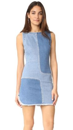 Ag The Indie Two Tone Denim Dress In Blue Mystery/patched Pop Fashion, Denim Fashion, Couture, Patchwork Dress, Recycled Denim, Linen Dresses, Denim Dresses, Denim Trends, Embroidery Fashion