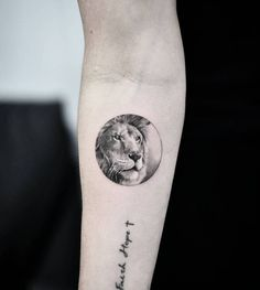 Lion circle tattoo on the right inner forearm. #TattooIdeasForearm