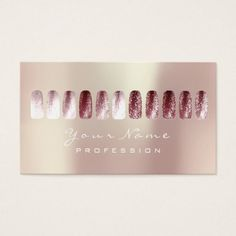 Nails Art Beauty Studio Glitter Red BeanPearly Business Card - stylist business cards cyo personalize businesscard diy