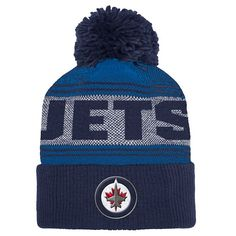 186f8d07842 Men s Winnipeg Jets adidas Blue Navy - Cuffed Knit Hat with Pom