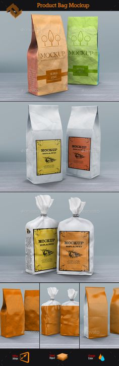 Product Paper Bags Mockup  — PSD Template #pack #packaging #food package…