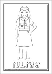 A set of simple colouring sheets featuring various people who help us.