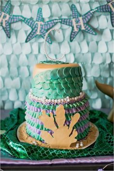Purple and green ribboned cake…