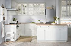 IKEA kjøkken med BODBYN fronter i hvit.