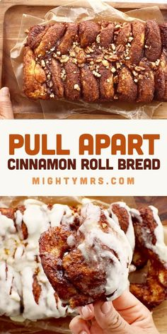 Start with cinnamon rolls. This pretty and tasty bread is easy to make and you can make it ahead. Perfect for Christmas morning breakfast. Pillsbury Cinnamon Rolls, Cinnamon Roll Dough, Cinnamon Pull Apart Bread, Cinnamon Bread, Kraft Recipes, Dessert Recipes, Hamburger Casserole, Chicken Casserole, Casserole Recipes