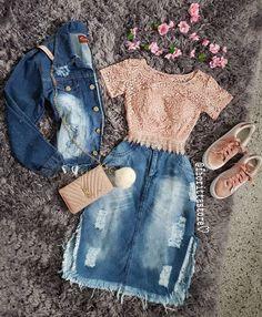 ♥ ️💁 ☑️ Venha conhecer o IG 🍁🏵️ - jeansrock - Roupas Ideias Modest Outfits, Modest Fashion, Outfits For Teens, Pretty Outfits, Teen Fashion, Stylish Outfits, Girl Outfits, Fashion Dresses, Pentecostal Outfits