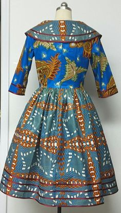 African Print Fitted Waist Dress. Rolled Collar. by NanayahStudio