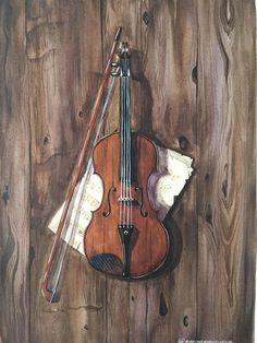Violin with sheet music painting watercolor original violin sheet music art wall art decor Aquarelle