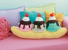 The banana split throw pillow is the absolute epitome of living à la mode! Three yummy scoops of ice cream, each topped with hot fudge, whipped cream, and a cherry, sit deliciously atop a perfect banana. You'll get to practice working in the round for the components in this project before sewing them all together. There's a lot of opportunity here to change up a variety of yarn colors and ice cream flavors, as well as your favorite sundae sauces, from hot fudge to caramel to strawberry!
