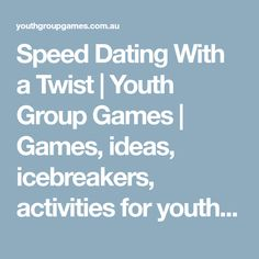 group activity speed dating