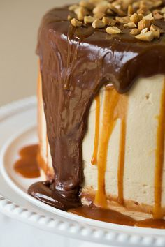 AMAZING !! Snickers Cake Recipe - Brown Eyed Baker