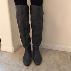 Zara over the knee boots Zara over the knee boots. Dark gray color. Worn only a few times. Great for the upcoming winter season :) Zara Shoes Over the Knee Boots