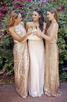 Blush and rose gold sequin dresses by Donna Morgan / http://www.deerpearlflowers.com/2015-wedding-trends-sequined-metallic-bridesmaid-dresses/