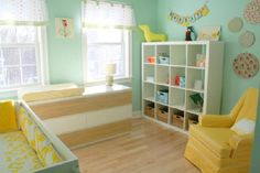 Turquoise and yellow nursery....throw in some gray