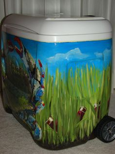 Painted Cooler - Seas & Shells...no artist! cooler, what a great idea