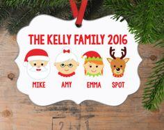 Christmas Ornament Reindeer Custom Family of 4 by JoyfulMoose