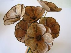 Set of 6 Book Page Paper Flowers, Book Flowers, Brown Stem Flowers, Book Paper Wedding Decor, Vintage Gold Flowers, Eco Wedding, Centerpiece by ThePurpleDream on Etsy