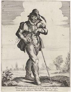Adriaen Pietersz. van de Venne   Boer met eieren in een mand, Adriaen Pietersz. van de Venne, Adriaen Matham, Jan Matham, 1628 - 1648   Een staande boer in een landschap wijst op een mand met eieren die hij onder zijn arm heeft.
