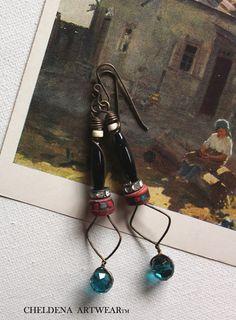 Art Jewelry Remnant Earrings, Artwear, Swarovski Crystal, Brass OX, Abstract, Dangle Earrings, Art Elements, Rhinestones, Cheldena Artwear