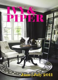 Classic Chic Home: Library. Black And White Office, Black And White Interior, Black White, Black Linen, Dark Grey, White Chic, White Rug, Home Office Design, House Design