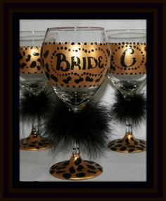Hand Painted Wine Glasses Animal Print Diva by GiftswithGlamor, $14.95