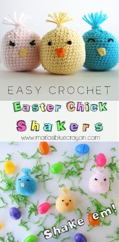Easy Crochet Easter Chick Shakers | Easter Basket Gifts/Fillers | For baby, toddlers, and kids | Noise makers | Shakers | Free Crochet Pattern