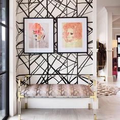 Lucite and gold bench with patterned wall in a feminine #foyer | The Decorista via bloglovin'.