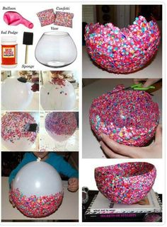 Fun crafts, diy arts and crafts, diy confetti, confetti basket, diy f Diy Arts And Crafts, Crafts For Teens, Crafts To Sell, Fun Crafts, Paper Mache Crafts For Kids, Button Crafts For Kids, Diy Crafts For Bedroom, Mod Podge Crafts, Creative Crafts
