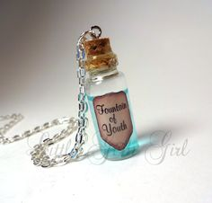 Fountain of Youth Mini Bottle Necklace - Magic Potion Glass Vial Charm - Blue…
