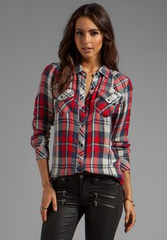 RAILS Kendra Tencel Button Down in Red/Navy