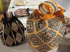 Beaded bags and bracelets by Silvia Tcherassi. The bags/bracelets are woven by Wayuu women in Colombia and Tcherassi embellishes them with rhinestones Tapestry Bag, Tapestry Crochet, My Bags, Purses And Bags, Mochila Crochet, Ibiza Fashion, Boho Bags, Beaded Bags, Quilted Bag