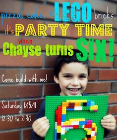 I like the idea of making their age number out of lego's for photo. Cookie Mondays...: Chayse's Lego Party