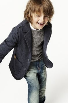 Love the classic navy blazer and grey sweater on this handsome little man.